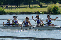"Henley on Thames, United Kingdom, 24th June 2018, Sunday, ""Henley Women's Regatta"", view, ""Putney High School"".  celebrate, ""after winning"", the,  ""Junior coxed four"", Henley Reach, River Thames, Thames Valley, England, © Peter SPURRIER,  24/06/2018"