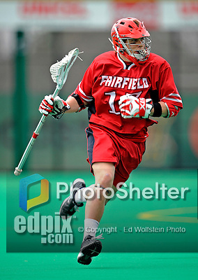 1 April 2008: Fairfield University Stags' Attackman Brendan Finnerty, a Senior from Merrick, NY, in action against the University of Vermont Catamounts at Moulton Winder Field, in Burlington, Vermont. The Catamounts rallied to overcome a five goal deficit and defeat the visiting Stags 9-8 notching their third win of the season...Mandatory Photo Credit: Ed Wolfstein Photo