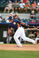 Houston Astros catcher Rene Garcia (77) during a spring training game against the Miami Marlins on March 21, 2014 at Osceola County Stadium in Kissimmee, Florida.  Miami defeated Houston 7-2.  (Mike Janes/Four Seam Images)