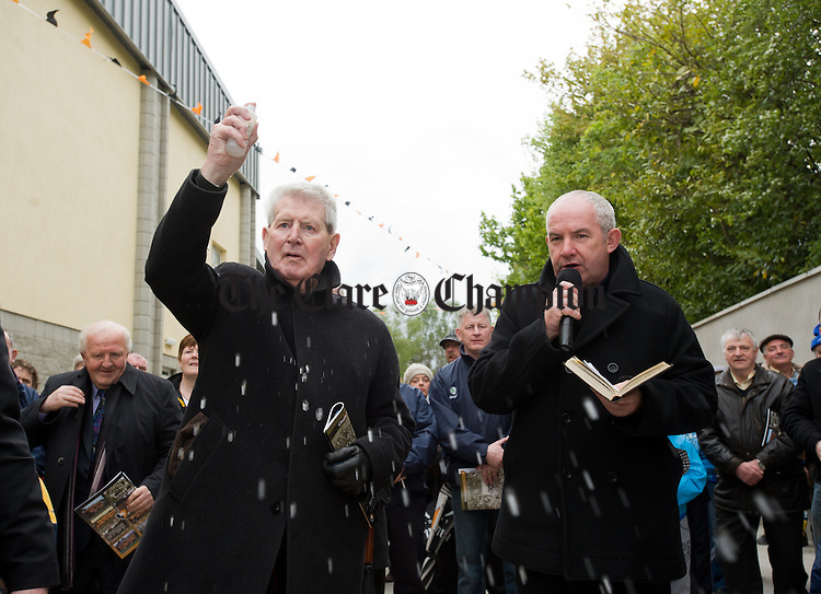 Fr Brendan Cleary and Fr Pat Greed who performed the blessing during the official opening of Clonlara GAA field. Photograph by John Kelly.