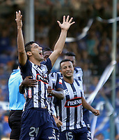 GUAYAQUIL- ECUADOR - 26-08-2014: Fernando Gimenez, jugador de Emelec de Ecuador celebra el gol anotado a Las Aguilas Doradas de Colombia durante partido de vuelta de la primera fase, de la Copa Total Suramericana Emelec de Ecuador, Aguilas Doradas de Colombia en el George Capwell,, de la ciudad de Guayaquil. / Fernando Gimenez, player of Emelec of Ecuador, celebrates a goal scored to Aguilas Doradas of Colombia during a match for the second leg of the first phase, between Emelec of Ecuador and Aguilas Doradas of Colombia of the Copa Total Suramericana in the George Capwell stadium, in Guayaquil city. Photo: API / Photogamma / VizzorImage.