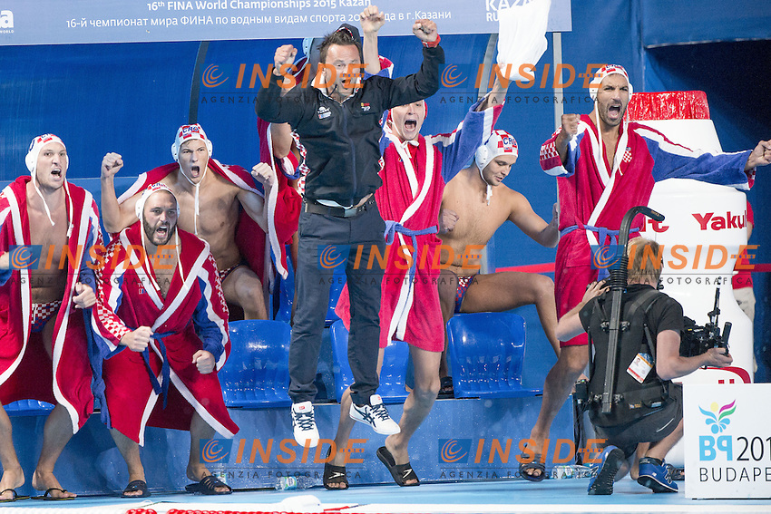 Water Polo Men Croatia (white) Vs. Greece (blue) CRO - GRE Semifinal<br /> Kazan Water Polo Arena<br /> Day04 06/08/2015<br /> XVI FINA World Championships Aquatics <br /> Kazan Tatarstan RUS July 24 - Aug. 9 2015 <br /> Photo G.Scala/Deepbluemedia/Insidefoto
