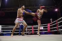 Thai kickboxing demonstration, Chiang Mai, Thailand.