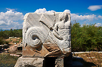 Roman Great Harbour Monument opened by the city of Miletus either in honour of the achievements of Pompeius in his war against the pirates (67 BC) or for the victory of Augustus over Mark Antony and Cleopatra in the battle of Actium (31 BC). Miletus Archaeological Site, Anatolia, Turkey.