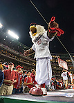 13 October 2016: Washington Nationals Mascot Screech gets the fans excited prior to the first pitch of Game 5 of the NLDS against the Los Angeles Dodgers at Nationals Park in Washington, DC. The Dodgers edged out the Nationals 4-3, to take Game 5 of the Series, 3 games to 2, and move on to the National League Championship Series against the Chicago Cubs. Mandatory Credit: Ed Wolfstein Photo *** RAW (NEF) Image File Available ***