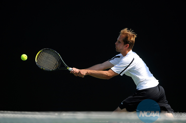 26 MAY 2011: Austin Chafetz of Amherst returns a serve during the Division III Men's Tennis Championship held at the Biszantz Family Tennis Center and Pauley Tennis Complex in Claremont, CA. Amherst defeated Emory 5-2 for the national title. Stephen Nowland/NCAA Photos