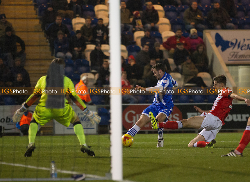Drey Wright of Colchester United puts the host three up with a deflected shot during Colchester United vs Crewe Alexandra, Sky Bet EFL League 2 Football at the Weston Homes Community Stadium on 26th November 2016