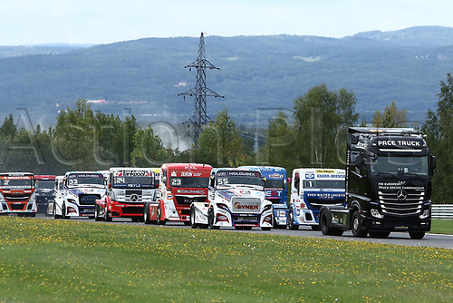 3rd September 2017, Most Racing Track, Most, Czech Republic; FIA European Truck Racing Championship; 3rd race, warm-up lap, from left in front Adam LACKO (CZ/Freightliner/Buggyra International Racing System), Jochen HAHN (GER/Iveco/Team Hahn Racing)