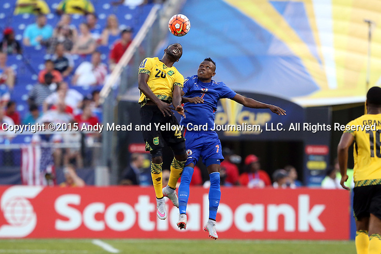 18 July 2015: Kemar Lawrence (JAM) (20) and Wilde-Donald Guerrier (HAI) (7). The Jamaica Men's National Team played the Haiti Men's National Team at M&T Bank Stadium in Baltimore, Maryland in a 2015 CONCACAF Gold Cup quarterfinal match. Jamaica won the game 1-0.