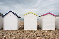 Beach huts, Worthing, West Sussex, UK.