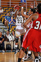 28 January 2012:  FIU guard Jerica Coley (22) shoots a jump shot in the second half as the FIU Golden Panthers defeated the Western Kentucky University Hilltoppers, 60-56, at the U.S. Century Bank Arena in Miami, Florida.  Coley, who has scored the second-most points of any women's player in the country, finished the game with 36 points and surpassed the 1,000 point mark.