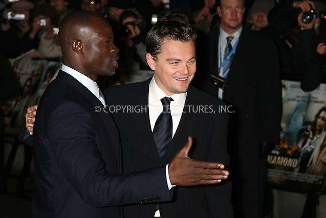 Djimon Hounsou and Leonardo DiCaprio at the uk premiere of 'Blood Diamond' at Odeon Leicester Square, London - 23 January 2007 ..FAMOUS PICTURES AND FEATURES AGENCY 13 HARWOOD ROAD LONDON SW6 4QP UNITED KINGDOM tel +44 (0) 20 7731 9333 fax +44 (0) 20 7731 9330 e-mail info@famous.uk.com www.famous.uk.com .FAM19437