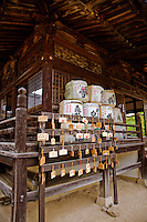 "Matsuo Sama Sake Shrine Saijo - Perhaps not surprisingly, in Japan there is even a ""sake god"" namely Matsuo Sama. Even sake-producing  town in Japan will have a shinto shrine dedicated to Matsuo Sama, and kegs of sake are donated to the shrine each harvest as thanks to the gods for their help."