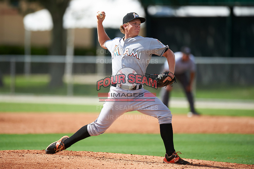 GCL Marlins relief pitcher RJ Peace (22) during the first game of a doubleheader against the GCL Cardinals on August 13, 2016 at Roger Dean Complex in Jupiter, Florida.  GCL Cardinals defeated GCL Marlins 4-2 in a continuation of a game originally started on August 8th.  (Mike Janes/Four Seam Images)