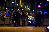 20/04/2017, Paris, France - Terror Attack Champs Elysee, police officer and suspect shot dead on Champs Elysees in attack claimed by Islamic State, one tourist woman injured, another french police officer badly injured, Paris, France, journalists covering, # FUSILLADE CONTRE DES POLICIERS SUR LES CHAMPS-ELYSEES