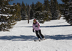 Woman skiing in Blue Sky Basin at Vail Ski Area, Colorado, .  John leads private ski trips to Front Range and Summit County Ski Areas in Colorado.