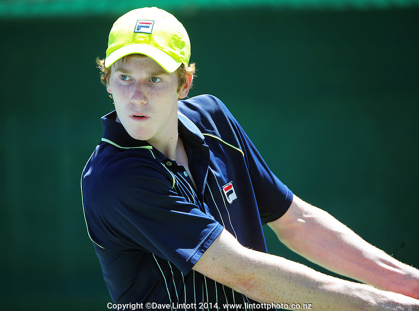 Jake Delaney (Australia) in action during day one of the ITF Juniors tennis tournament at Renouf Tennis Centre, Wellington, New Zealand on Monday, 3 February 2014. Photo: Dave Lintott / lintottphoto.co.nz