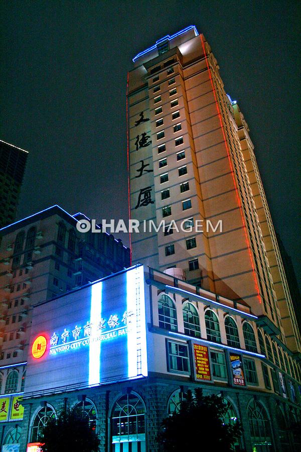 Vista noturna da cidade de Nanning. China. 2007. Foto de Flávio Bacellar.