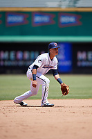 Jacksonville Jumbo Shrimp shortstop Bryson Brigman (6) during a Southern League game against the Tennessee Smokies on April 29, 2019 at Baseball Grounds of Jacksonville in Jacksonville, Florida.  Tennessee defeated Jacksonville 4-1.  (Mike Janes/Four Seam Images)