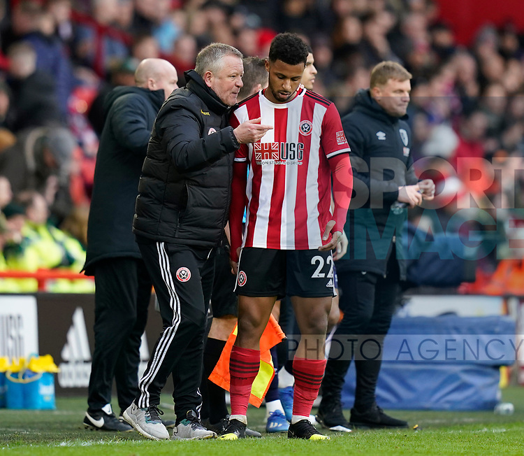Chris Wilder manager of Sheffield Utd instructs Lys Mousset of Sheffield Utd during the Premier League match at Bramall Lane, Sheffield. Picture date: 9th February 2020. Picture credit should read: Simon Bellis/Sportimage