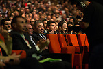 5 time winners Eddy Merckx (BEL) and Bernard Hinault (FRA) sitting with top riders Greg Van Avermaet (BEL) and Christopher Froome (GBR) at the Tour de France 2019 route presentation held at Palais de Congress, Paris, France. 25th October 2018.<br />