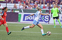 Portland, OR - Saturday August 19, 2017: Camille Levin, Hayley Raso during a regular season National Women's Soccer League (NWSL) match between the Portland Thorns FC and the Houston Dash at Providence Park.