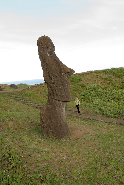 Chile, Easter Island: Sculptures at the quarry Rano Raraku where all the large sculptures were carved..Photo #: ch259-33835.Photo copyright Lee Foster www.fostertravel.com lee@fostertravel.com 510-549-2202