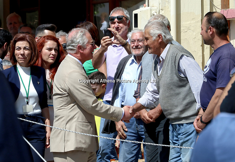 Pictured: Prince Charles greets local people at the village of Arhanes on the island of Crete, Greece. Friday 11 May 2018 <br /> Re: HRH Prnce Charles and his wife the Duchess of Cornwall visit thevillage of Arhanes near Heraklion, Greece.