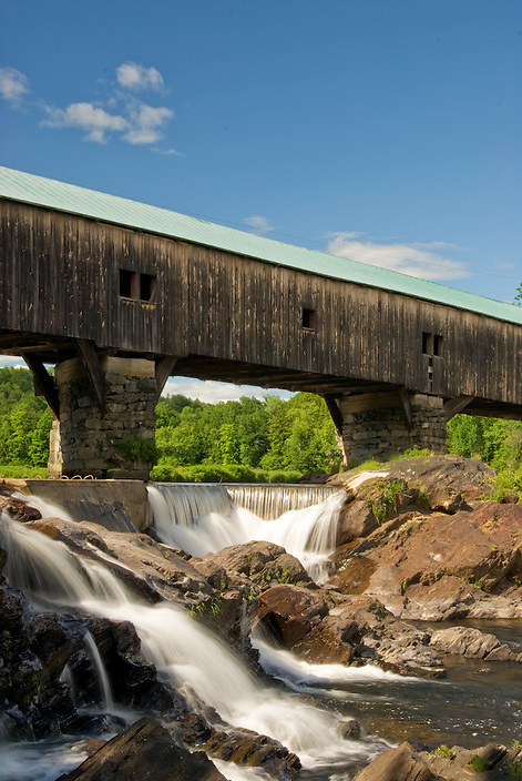 A close-up of a span of the Bath Covered Bridge in northern New Hampshire.
