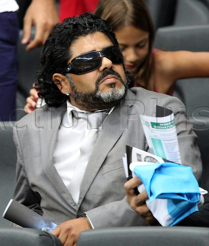 15.08.2012. Frankfurt, Germany.  Germany versus Argentina international friendly. In Picture Diego Maradona, ex team manager of Argentina in the Grandstand during The Match