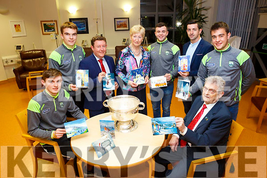Launching the Hospice Christmas card campaign at The Palliative Care Unit of The Kerry General Hospital on Monday  Ted Moynihan, Chairman Kerry Hospice, Kerry minors, Diarmuid O'Connor Ryan O'Neill Ciaran O'Reilly and Fergal Barry, Mairead Fernane, Kerry Hospice, Garda Aidan O'Mahon and Tony Bergin, Kerry Group