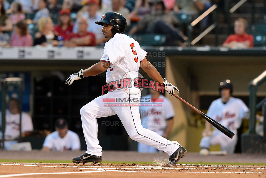 Rochester Red Wings shortstop Eduardo Escobar (5) during a game against the Buffalo Bisons on August 30, 2013 at Frontier Field in Rochester, New York.  Buffalo defeated Rochester 6-3.  (Mike Janes/Four Seam Images)