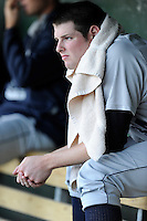Pitcher Jordan Montgomery (34) of the Charleston RiverDogs rests in the dugout during a game against the Greenville Drive on Saturday, May 23, 2015, at Fluor Field at the West End in Greenville, South Carolina. Charleston won 5-4. (Tom Priddy/Four Seam Images)