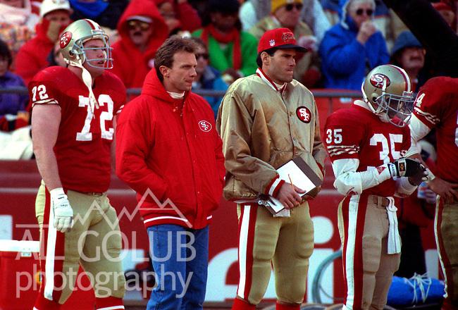 San Francisco 49ers vs New Orleans Saints at Candlestick Park Sunday, December 23, 1990..Saints beat 49ers 13-10.Injured 49er quarterback Joe Montana on sidelines...