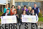 CHEQUES: On Friday morning at the Pallative Care Unit, Kerry General cheques were presented to Kerry Cancer Support Group,47, Lisdara, Oakpark Tralee and the Pattative Care Unit KG of EUR894.50 each. Front l-r: David O'Mahony (KCSG), Frances O'Sullivan (Molly Galvins Kraft and Coffee Shop, Kenmare), Mari O'Connell (KG) and Ray O'Sullivan (Story Teller). Back l-r: Mary Nolan, Mary Shanahan, (Pallative Care Unit KG), Sean Prendergast (KCSG), Rosaline O'Sullivan, Cathy O'Sullivan (Killarney) and PJ Rowan (Pallative Care Unit Porter).................................. ....