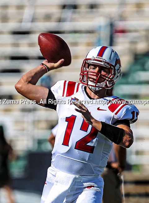 Southern Methodist Mustangs quarterback Neal Burcham (12) in action during the game between the Southern Methodist Mustangs and the Baylor Bears at the Floyd Casey Stadium in Waco, Texas. Baylor defeats SMU 59 to 24.