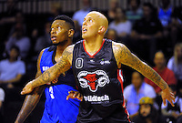 Craig Torrey (left) and Richie Edwards in action during the national basketball league match between Wellington Saints and Canterbury Rams at TSB Bank Arena, Wellington, New Zealand on Monday, 6 April 2015. Photo: Dave Lintott / lintottphoto.co.nz