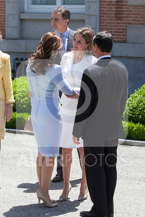 Princess Letizia of Spain receive Mexico´s President Enrique Pena Nieto and his wife Angelica Rivera at Zarzuela Palace in Madrid, Spain. June 09, 2013. (ALTERPHOTOS/Victor Blanco)