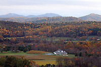 A winery nestled in the Blue Ridge mountains in the fall.