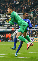 1st January 2020; St James Park, Newcastle, Tyne and Wear, England; English Premier League Football, Newcastle United versus Leicester City; Martin Dubravka of Newcastle United suffers a painful blow from a challenge by Ricardo Pereira of Leicester City - Strictly Editorial Use Only. No use with unauthorized audio, video, data, fixture lists, club/league logos or 'live' services. Online in-match use limited to 120 images, no video emulation. No use in betting, games or single club/league/player publications