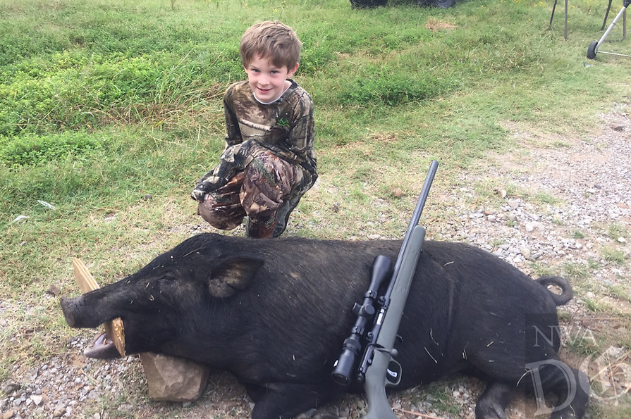 Courtesy photo<br />WILD HOG HUNT<br />Archer Colley, 7, of Greenwood, shows a wild feral hog he shot Aug. 26 while hunting with his dad, KC Colley, and granddad, Ken Colley, near Hartshorne, Okla., in south-central Oklahoma. The trip was Archer's first wild hog hunt. Archer is in the second grade at Westwood Elementary in Greenwood.