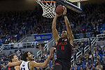 San Diego State forward Matt Mitchell (11) dunks the ball against Nevada during the first half of a basketball game played at Lawlor Events Center in Reno, Nev., Saturday, Feb. 29, 2020. (AP Photo/Tom R. Smedes)