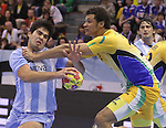 13.01.2013 Granollers, Spain. IHF men's world championship, prelimanary round. Picture show Pablo Portela   in action during game between Brazil vs Argentina at Palau d'esports de Granollers