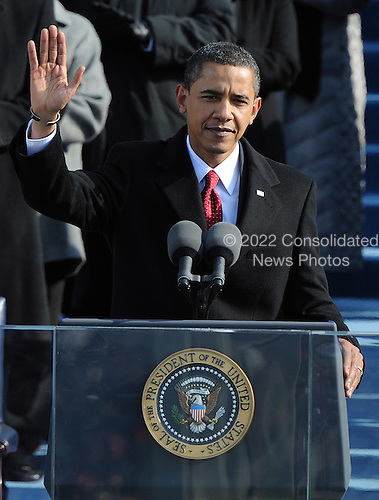 Washington, DC - January 20, 2009 -- United States President President Barack Obama delivers his Inaugural address after being sworn in as the 44th President of the United States in Washington, DC, USA 20 January 2009. Obama defeated Republican candidate John McCain on Election Day 04 November 2008 to become the next U.S. President.Credit: Pat Benic - Pool via CNP