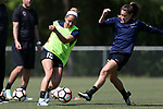 CARY, NC - APRIL 20: Jaelene Hinkle (15) and Samantha Witteman (right). The North Carolina Courage held a training session on April 20, 2017, at WakeMed Soccer Park Field 7 in Cary, NC.