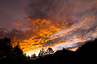 Dramatic sunset at camping location during July 2011 monsoon season in Red River, New Mexico.