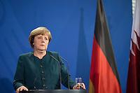 Berlin, Bundeskanzlerin Angel Merkel (CDU) im Bundeskanzleramt, zu einer Pressekonferenz mit dem Premierminister des Staates Katar.Deutschland - April 16:(Photo by Timur Emek/commonlens)