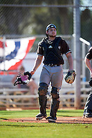 St. Bonaventure Bonnies catcher Tommy LaCongo (11) during a game against the Dartmouth Big Green on February 25, 2017 at North Charlotte Regional Park in Port Charlotte, Florida.  St. Bonaventure defeated Dartmouth 8-7.  (Mike Janes/Four Seam Images)