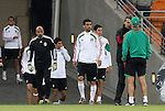10 JUN 2010: Team captain Rafael Marquez leads the team onto the field. The Mexico National Team held a light practice at Soccer City Stadium in Johannesburg, South Africa the day before playing South Africa in the opening match of the 2010 FIFA World Cup.