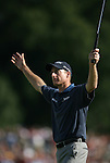 7 September 2008:    Jim Furyk raises his arms in victory on the 18th green after finishing in third place in the fourth and final round of play at the BMW Golf Championship at Bellerive Country Club in Town & Country, Missouri, a suburb of St. Louis, Missouri on Sunday September 7, 2008. The BMW Championship is the third event of the PGA's  Fed Ex Cup Tour.